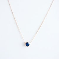 18 K gold plated Blue Solitaire Austrian crystal pendant chain