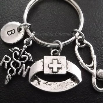 Sale...RN Nurse keyring, keychain, bag charm, purse charm, monogram personalized custom gifts, choose your initial style item No.525