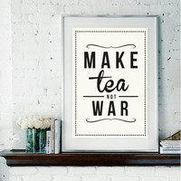 Retro Tea Quote Giclee Art Print by RockTheCustardPrints