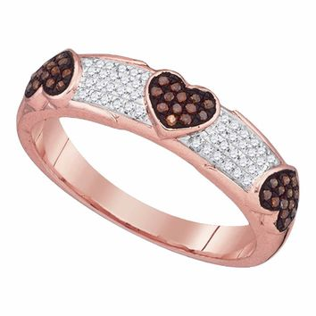 10kt White Gold Womens Round Red Color Enhanced Diamond Heart Love Band Ring 1/5 Cttw