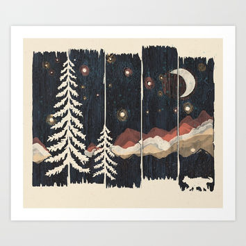 A Starry Night in the Mountains... Art Print by ndtank