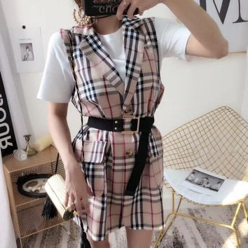 Burberry Women Temperament Fashion Multicolor Tartan Stripe Sleeveless Tailored Collar Vest Mini Dress