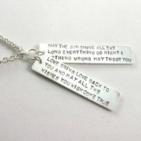 Hand Stamped Irish Blessing Sterling Silver Tag Pendant Necklace