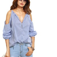 SheIn Womens Tops Fashion Ladies Casual Blouses For Autumn Blue Striped V Neck Cold Shoulder Long Sleeve Blouse