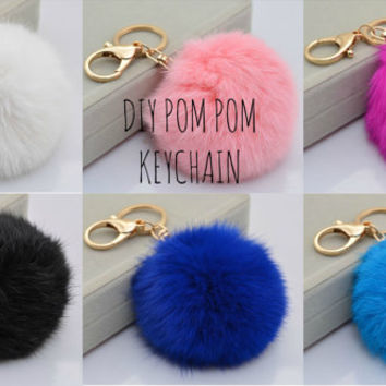DIY Rabbit Fur Pom Pom Keychain Bag Pendant Cute Key Ring