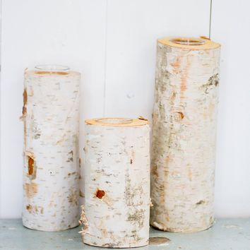 Birch Wood Candles Holders