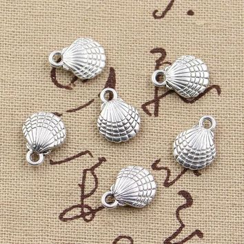 DKF4S 20pcs Charms double sided shell 21*11mm Antique charms pendant fit,Vintage Tibetan Silver,DIY for bracelet necklace