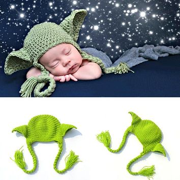 Handmade Knitted Baby Star Wars Yoda Costume Hat Newborn Photography Props