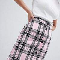 ASOS DESIGN tailored pink check button through mini skirt at asos.com