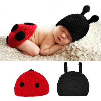 Newborn Baby Clothing Set Cute Infant Knitted Costume Soft Handmade Crochet Cotton Photo Props Photography