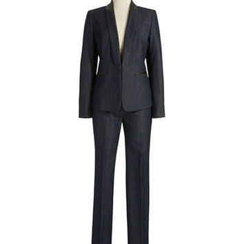 Tahari Arthur S. Levine Two Piece Chambray Suit Set
