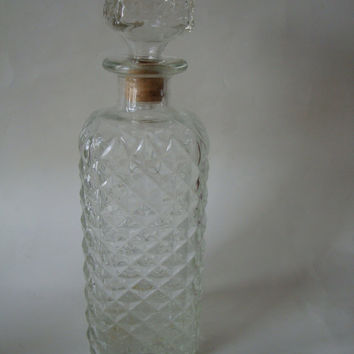 Vintage Cut Glass Liquor Decanter or Bottle Retro style 1950's