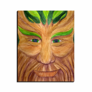 Green Man - Wrapped Canvas of Pagan God Watercolor Pencil Fine Art