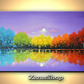 Colorful rainbow trees painting original contemporary abstract landscape large canvas art wall decor