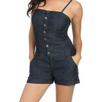 Button Front Denim Romper - Women's Clothing and Apparel - Chic Dresses, Fashion Tops, Shoes, Bottoms, Denim and Accessories