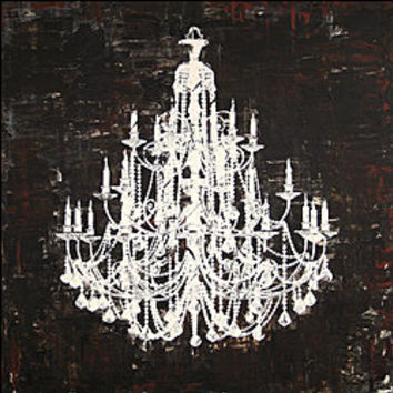 'Chandelier White and Black II' Canvas Art | Overstock.com