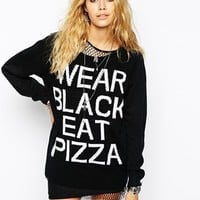 Kill Star Oversized Jumper With Wear Black Eat Pizza