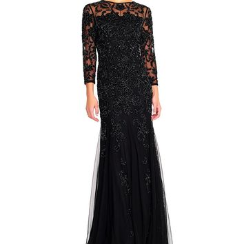 Adrianna Papell Long Sleeve Beaded Gown | Dillards