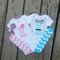 First Birthday Twins Chevron Onesuit Set - Teal - Pink - Mustache - Bow Tie - Suspenders - Boy Girl - Leg warmer - Vintage - Photo Cake Smash