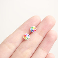 Rainbow Flower Earrings, Colourful Flower Earrings, Flower Earrings, Colourful Earrings, Floral Earrings, Nature Earrings, Flower Studs