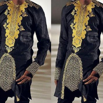 ONETOW New African Style African dashiki men's clothing traditional national hot gold printed long-sleeved shirt