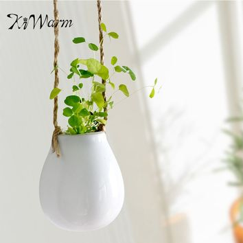 White Ceramic Hanging Planter Flower Pot Bottle With Twine