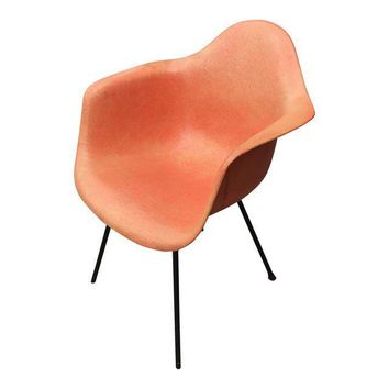 1950s Eames for Herman Miller Salmon Molded Fiberglass Arm Chair