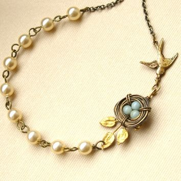 Vintage Leaf Bird's Nest Necklace, Blue Amazonite Egg Bird's Nest, Mother's Necklace, Pearl & Antiqued Bronze Gold Necklace, ROBIN'S NEST