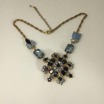 Blue Rhinestone Flower Necklace, Gold tone Pendant, Floral Statement, Assemblage, Sapphire Aquamarine, Reclaimed Vintage Jewelry, OOAK