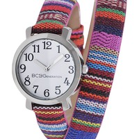 BCBGeneration Watch, Women's Tribal Print Canvas Double Wrap Strap 29mm GL4204 - All Watches - Jewelry & Watches - Macy's