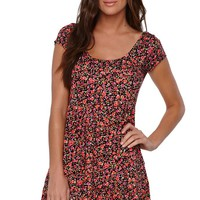 LA Hearts Babydoll Dress - Womens Dress - Floral