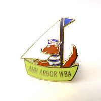 Cute Fox Pin, Ann Arbor Michigan Pin, Sailboat Lapel Pin Badge, American Enamel Badge, Vintage Flair Pin, WBA Bowling Pin