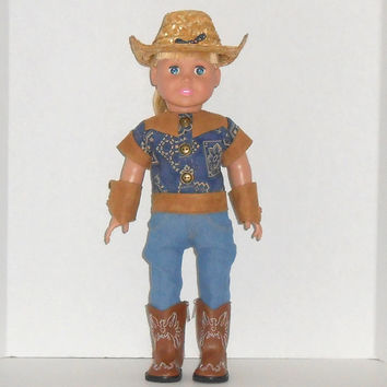 American Girl Doll Clothes Denim Jeans with Navy Western Shirt /Cowboy Hat and Suede Arm Warmers fits 18 inch dolls