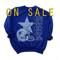 On Sale - Large Dallas Cowboys Navy Blue Vintage Crewneck Sweatshirt - Lightweight Blue Sweatshirt - NFL Football Sweatshirt  - NFL Cowboys