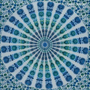 Twin Blue peafowl Bohemian Hippie Indian Medallion Mandala Throw Tapestry - RoyalFurnish.com