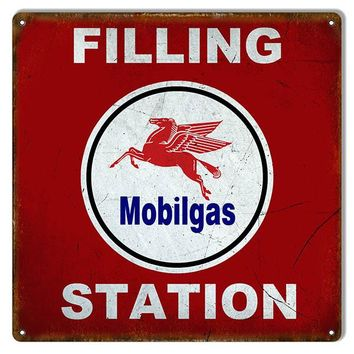 Aged Looking Filling Station Mobilgas  Reproduction Sign 12″x12″