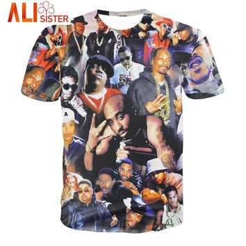 New Fashion 3D Printed T Shirt Men Legends Of Hip Hop 2pac Tupac/Biggie Smalls Pattern T-Shirt Hip-Hop Funny Tee Tops Large Size