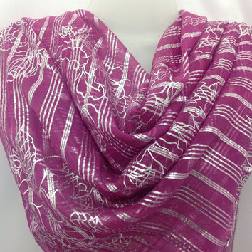 Magenta Orchid silk square shawl, Wedding Gift, Festive Colorful Sarong, Best friend gift, Gift for coworker,Birthday gift,  Boss gift