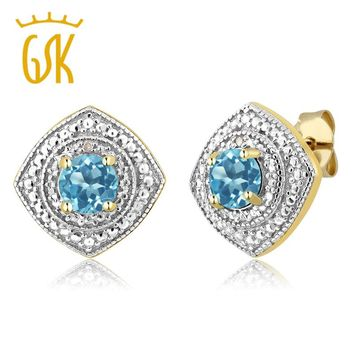 18KT Yellow Gold 1.10 Ct 5mm Natural Blue Topaz with Diamond Accent Plated Silver Stud Earrings