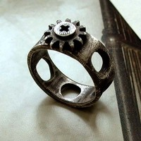 Screw Cap Ring - Size 6 - Black - Sterling Silver - Oxidized - Rustic - Tiny Gear - Industrial Chic - Urban - Nuts and Bolts Jewelry