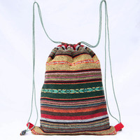 Gym Bag Cloth Drawstring Bag/Backpack Tribal Velvet Bag Compact size
