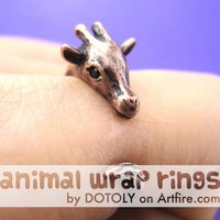 Giraffe Animal Wrap Around Hug Ring in Copper for Women - Sizes 4 to 9