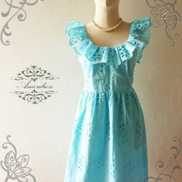 Amor Vintage Inspired Butterfly Pastel Blue Lace Dress Wedding Prom Party Dress for Any Occasion - Size XS-S-