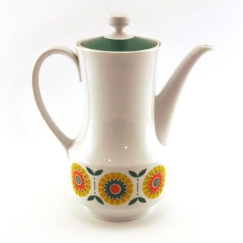 Seltmann, Bavaria, W. Germany, Coffee tea pot Floral pattern. German porcelain 1970 Seltmann Weidew Bavaria Anja 70s homeware