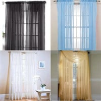 Lot Colors Door Window Curtain Drape Panel or Scarf Assorted Scarf Sheer Voile = 1958158852