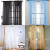 Lot Colors Door Window Curtain Drape Panel or Scarf Assorted Scarf Sheer Voile