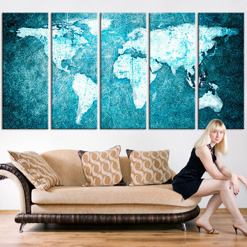 Large Wall Art Canvas Print - Turquoise World Map Print, World Map Wall Art,  World Map on Grunge Canvas Print, Large Wall Art World Map,