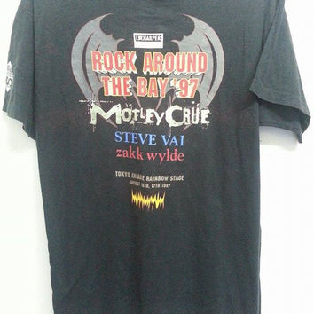 Sale Vintage 1990s 30th Anniverssary Rock Around The Bay Motley Crue Steve Vai Tokyo Japan Concert Tour TShirt