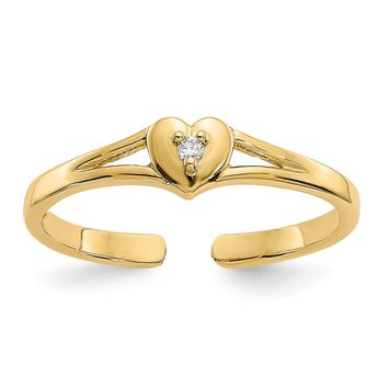 14k Yellow Gold Diamond Heart Toe Ring