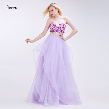 Finove Two-Piece Set Prom Dresses Flowers Pattern Beading Crop Top and Tulle Dresses 2017 New Floor Length Party Gowns for Woman